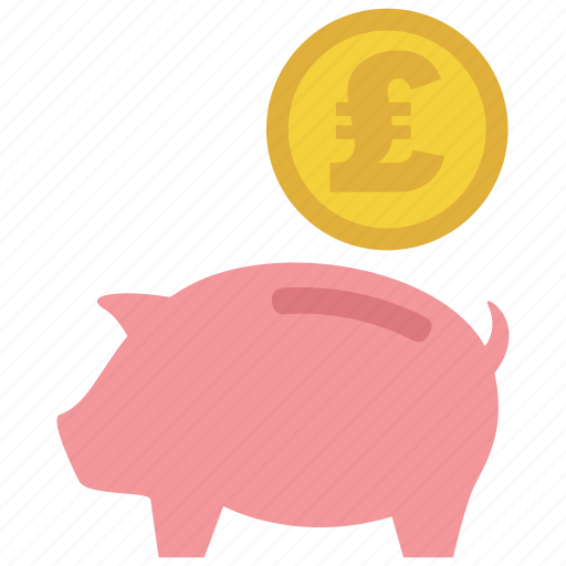coin, guardar, investment, money, pig, pound, save, saving icon