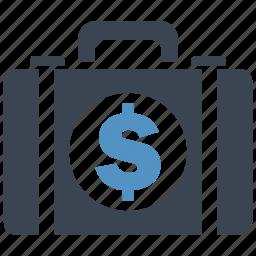 briefcase, business, cash, dollar, money, money bag, shopping icon