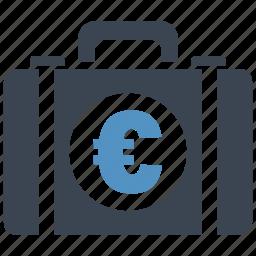 briefcase, business, cash, euro, money, money bag, shopping icon