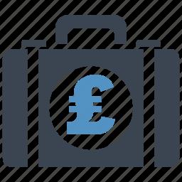 briefcase, business, cash, money, money bag, pound, shopping icon