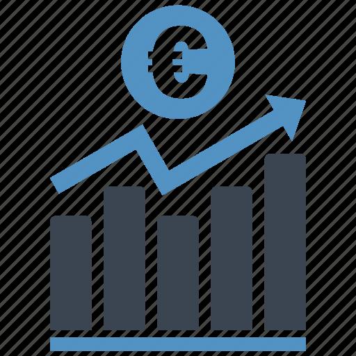 analysis, chart, diagram, euro, graph, money, report icon