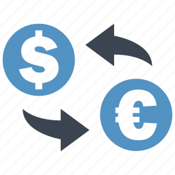 conversion, convert, dollar, euro, exchange, rate, transfer icon