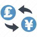 conversion, convert, exchange, pound, rate, transfer, yen icon