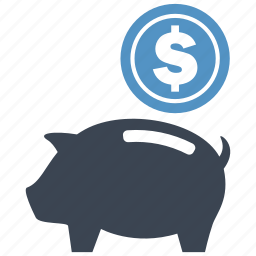 coin, dollar, guardar, money box, pig, piggy, save, saving icon