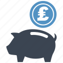 coin, guardar, money box, pig, piggy, pound, save, saving icon