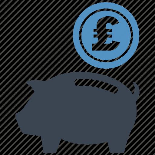 coin, guardar, money box, pig, piggy, pound, save, saving icon