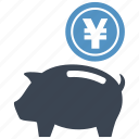 coin, guardar, money box, pig, piggy, save, saving, yen icon