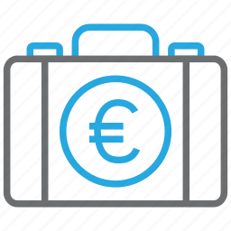 briefcase, business, buy, cash, euro, pay, payment icon