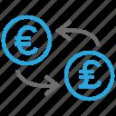 coin, conversion, convert, euro, exchange, pound, rate icon