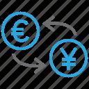 coin, conversion, convert, euro, exchange, rate, yen icon