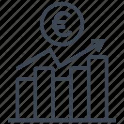 chart, coin, diagram, euro, graph, money, statistics icon