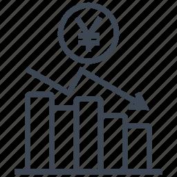 chart, coin, diagram, graph, money, statistics, yen icon