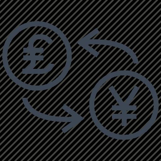 conversion, convert, exchange, pound, rate, transfer, yen icon