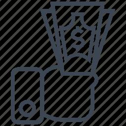cash, credit, currency, debit, dollar, finance, money icon