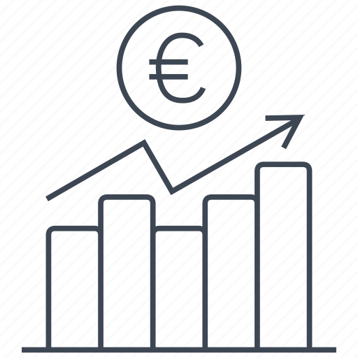chart, coin, diagram, euro, graph, money, statistics icon