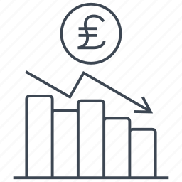 chart, coin, diagram, graph, money, pound, statistics icon