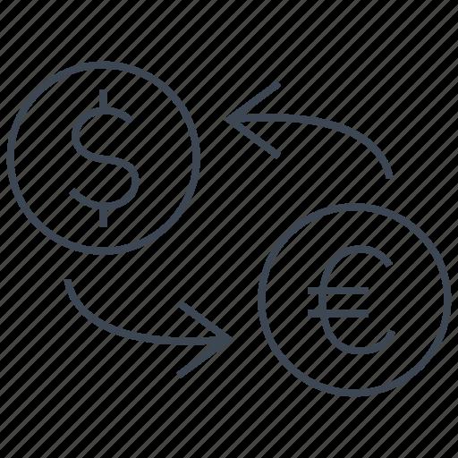 conversion, convert, dollar, euro, exchange, rate, transfer icon
