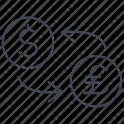 conversion, convert, dollar, exchange, pound, rate, transfer icon