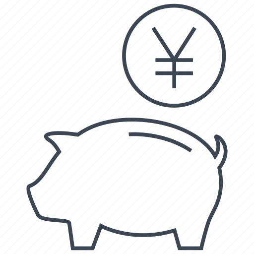 coin, guardar, money, pig, piggy, save, saving, yen icon