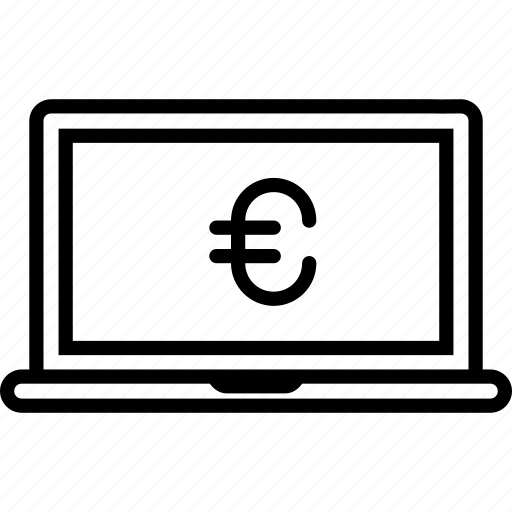 coin, currency, device, euro, finance, laptop, money icon