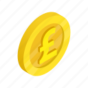 coin, currency, finance, gold, isometric, pound, uk icon