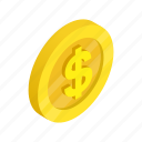 coin, currency, dollar, finance, gold, isometric, usa