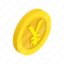 coin, currency, finance, gold, isometric, japan, yen icon