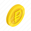 coin, currency, finance, gold, isometric, ruble, russia icon