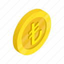 coin, currency, finance, gold, isometric, lira, turkey icon