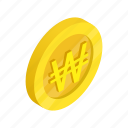 coin, currency, finance, gold, isometric, south, won icon