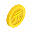 coin, currency, dollar, finance, gold, isometric, taiwan