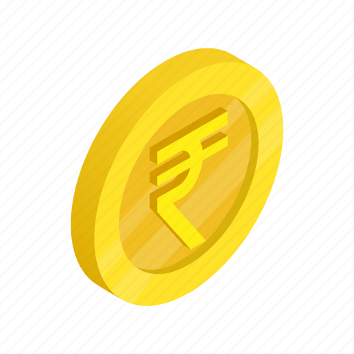 coin, currency, finance, gold, india, isometric, rupee icon
