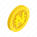 coin, currency, finance, gold, isometric, nairas, nigeria icon