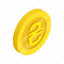 coin, currency, finance, gold, hryvnia, isometric, ukraine icon