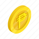 coin, currency, finance, gold, isometric, peso, wealth icon