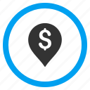 bank pointer, currency, dollar, location, map marker, money, payment icon