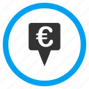 bank pointer, euro currency, location, map marker, navigation, payment, point icon