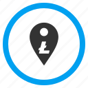 bank position, gps, litecoin, location, map pointer, marker, navigation icon