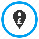 bank pointer, currency, location, map marker, payment, pin, pound sterling icon