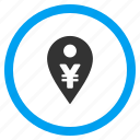 bank pointer, currency, location, map marker, payment, yen, yuan icon