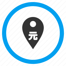 bank pointer, chinese yuan, currency, location, map marker, payment, pin icon