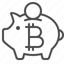 bitcoin, piggy bank, savings icon