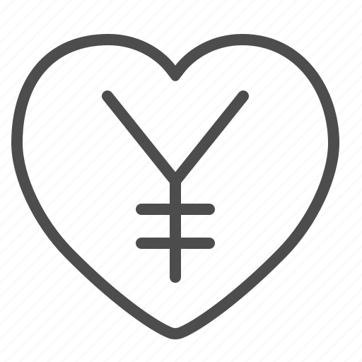 chinese, currency, heart, japanese, love, yen, yuan icon