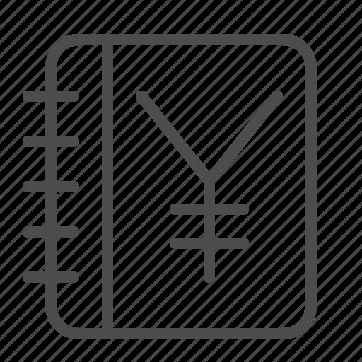 accounting, ledger, log, notebook, yen, yuan icon