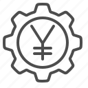 business, cog, economy, finance, gear, yen, yuan icon