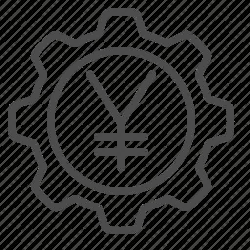 business, cog, economy, finance, gear, yen, yuan icon