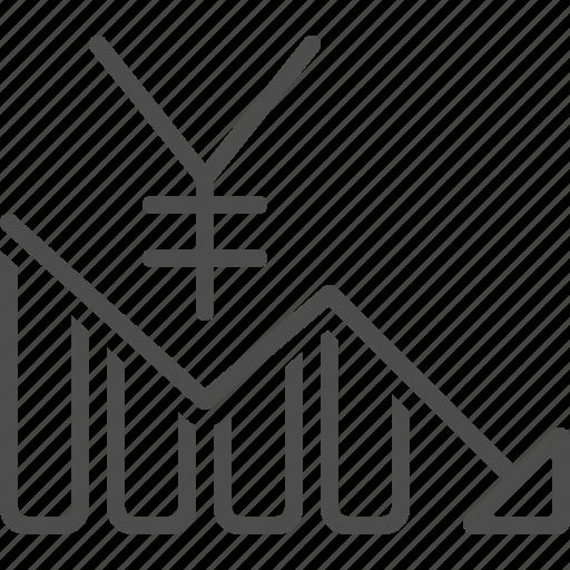 chart, exchange rate, graph, loss, report, yen, yuan icon