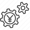 cog, economy, financial, gear, yen, yuan icon