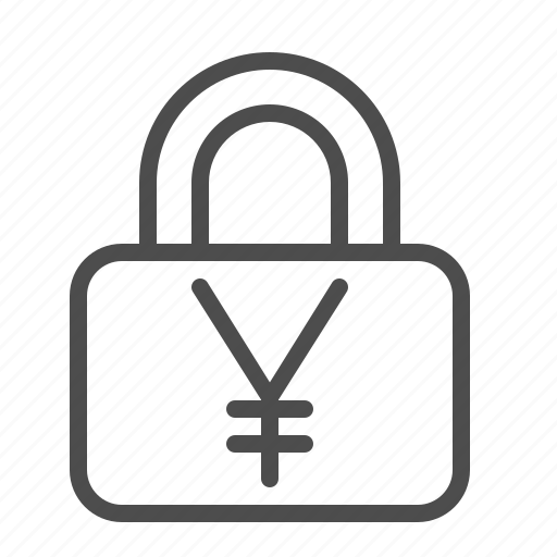 insurance, lock, security, yen, yuan icon