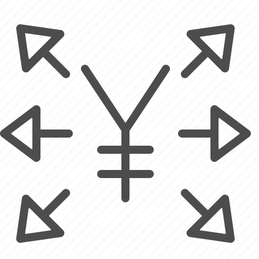 arrows, investment, transactions, yen, yuan icon